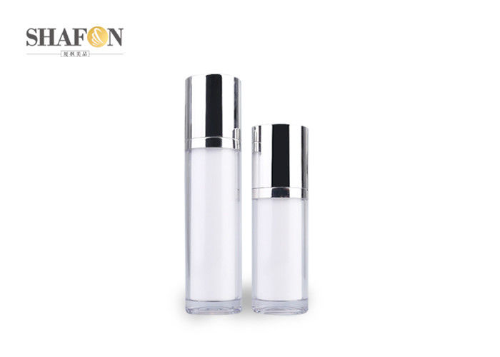 Refillable Cylinder Acrylic Lotion Bottle With Plated Cover 50ml Injection Color